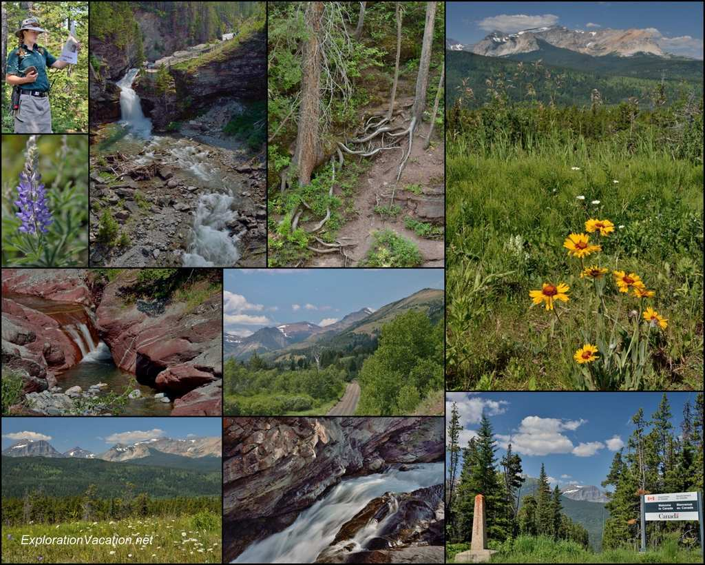 collage of mountain scenery and waterfalls