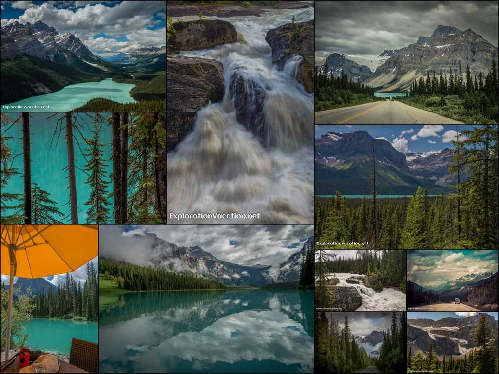 collage of glacial lakes and waterfalls