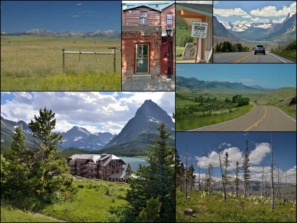 collage of roadside scenery