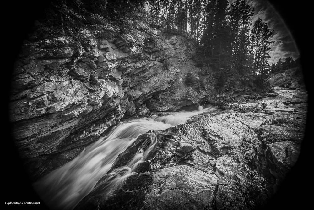 Hiking Red Rock Canyon and Blakison Falls Waterton NP Canada 24 20140713-DSC_3604BW
