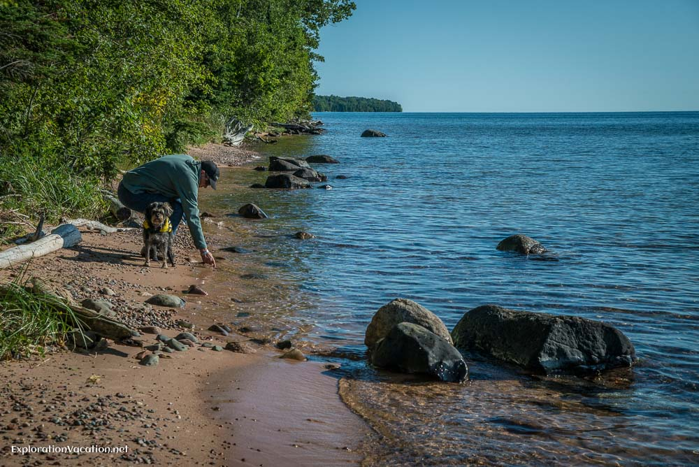 Along the beach on Rocky Island in Lake Superior Apostle Islands in Wisconsin - ExplorationVacation.net
