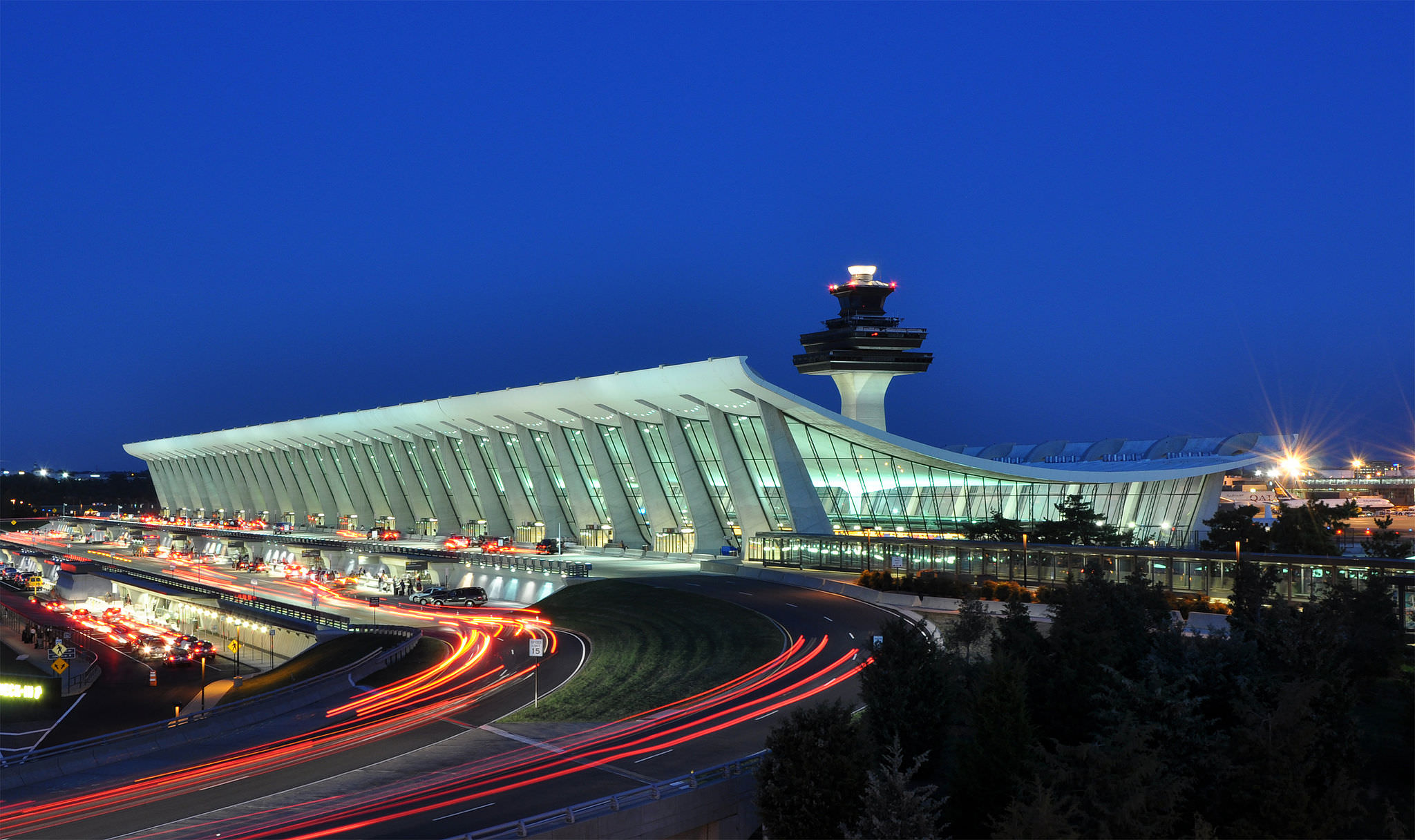 Washington Dulles at night