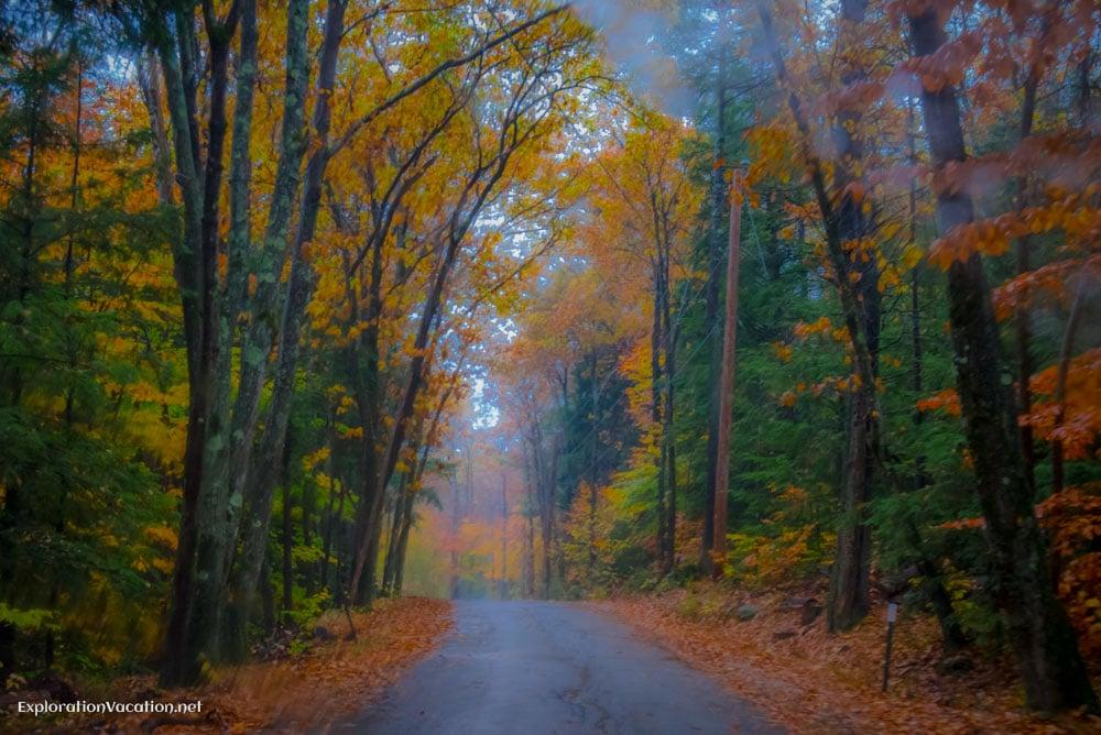 Fall in New Hampshire in the rain- ExplorationVacation.net