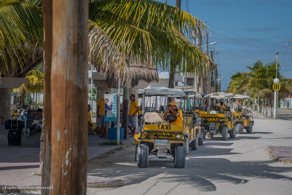 taxi stand on Isla Holbox Mexico - ExplorationVacation.net