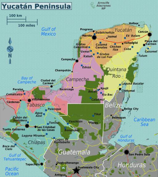 Yucatán_Peninsula_map -sBy Peter Fitzgerald, OpenStreetMap via Wikimediamaller
