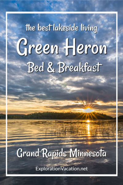 """sunset over a beach with text """"Green Heron Bed & Breakfast"""""""