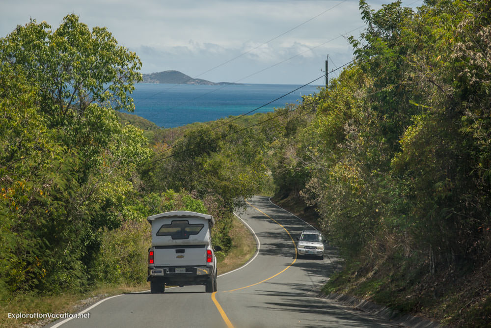 On the road on St John - ExplorationVacation.net