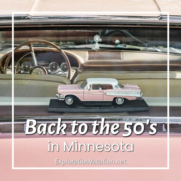 """photo of a model car in the window of a car with text """"Back to the 50's in Minnesota"""""""