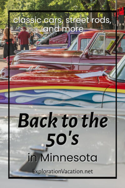 """photo of colorful cars with text """"Back to the 50's in Minnesota"""""""