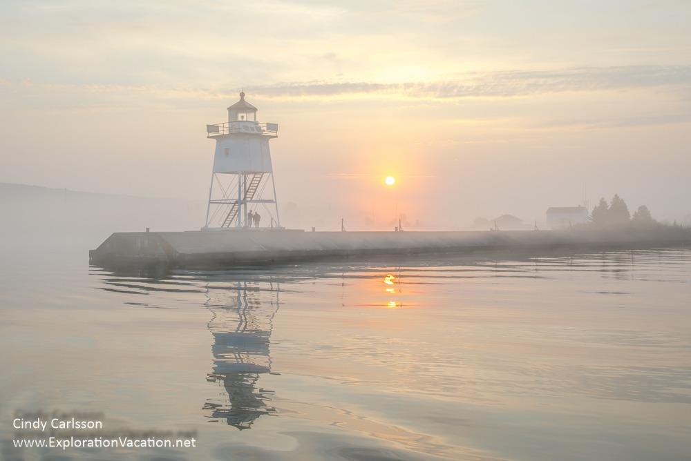 sunrise in Grand Marias harbor - ExplorationVacation