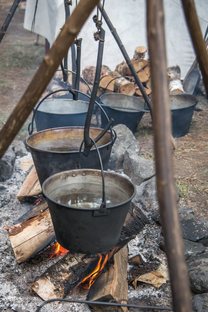 simmering kettles at the Voyageurs camp at Grand Portage Monument Minnesota