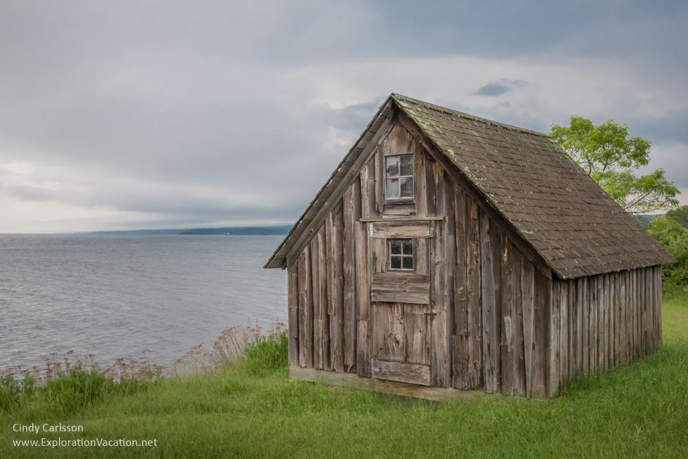 fish shacks along Lake Superior's North Shore in Minnesota