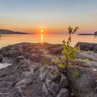 Sunrise at Sugar Loaf Cove along Lake Superior in Minnesota