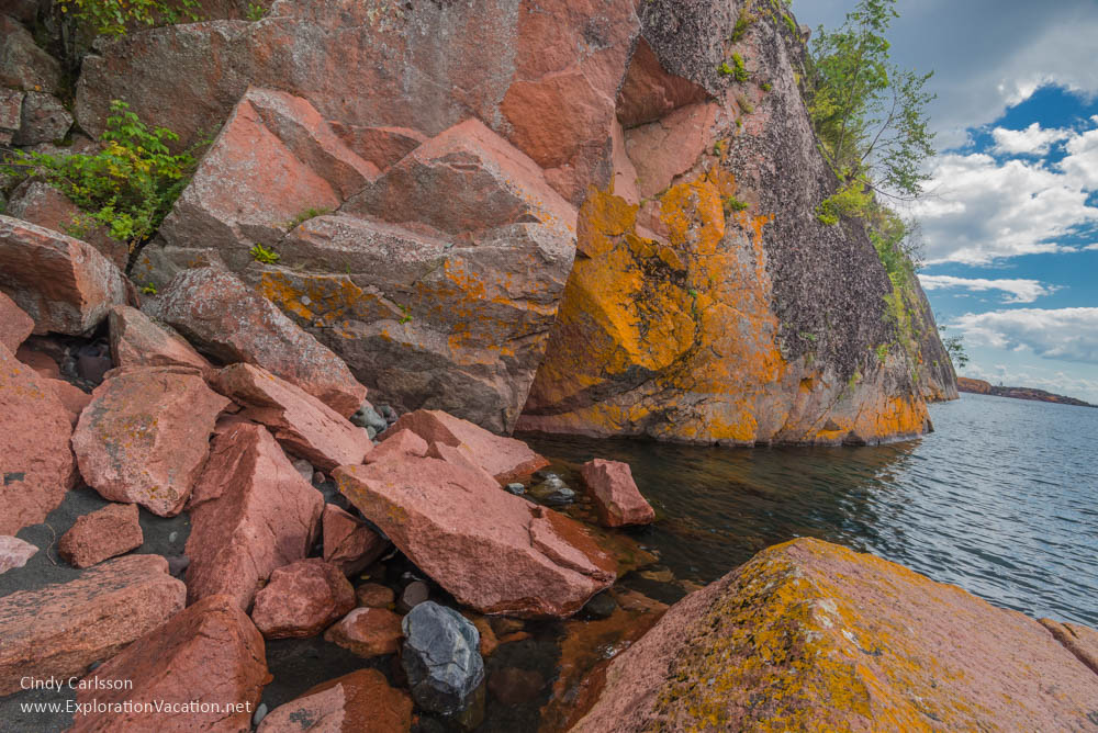 red rock Black Beach Lake Superior Silver Bay Minnesota