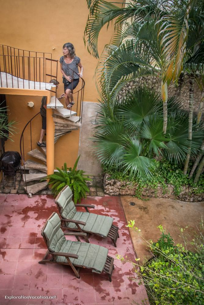 garden stairs - house tour in Merida