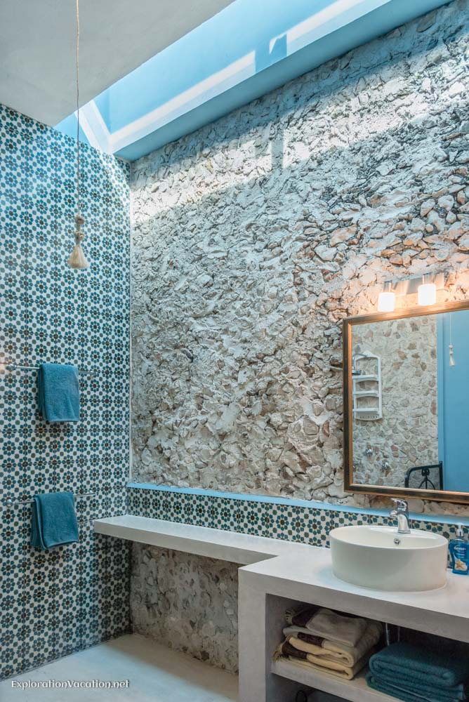 master bath in casita house tour in Merida