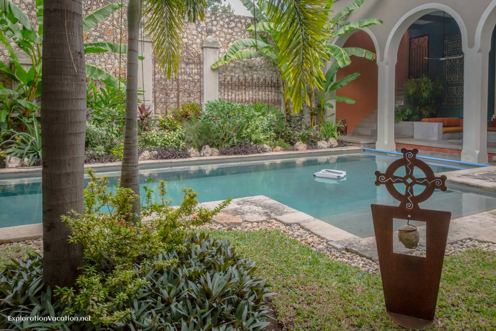 second courtyard and pool La Calle Escondida Merida