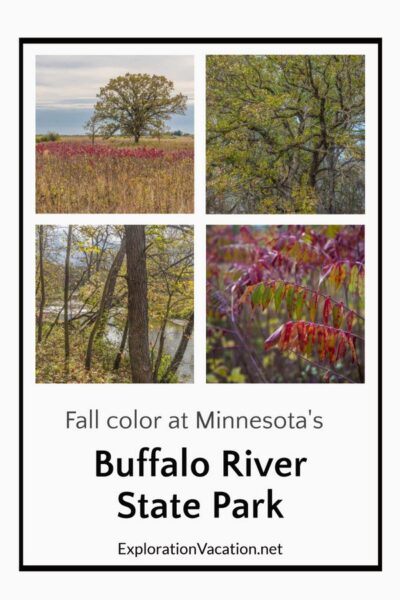 """Four fall images with title """"Fall color at Minnesota's Buffalo River State Park"""""""