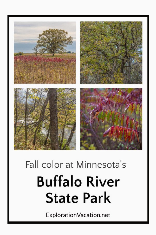 "Four fall images with title ""Fall color at Minnesota's Buffalo River State Park"""
