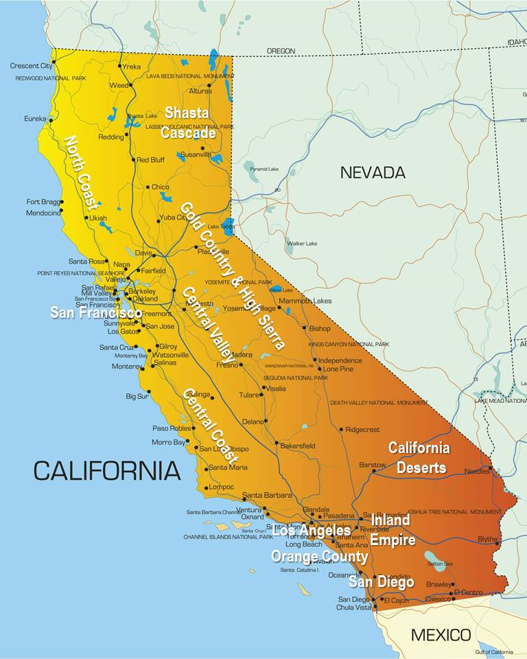 map of California with regions