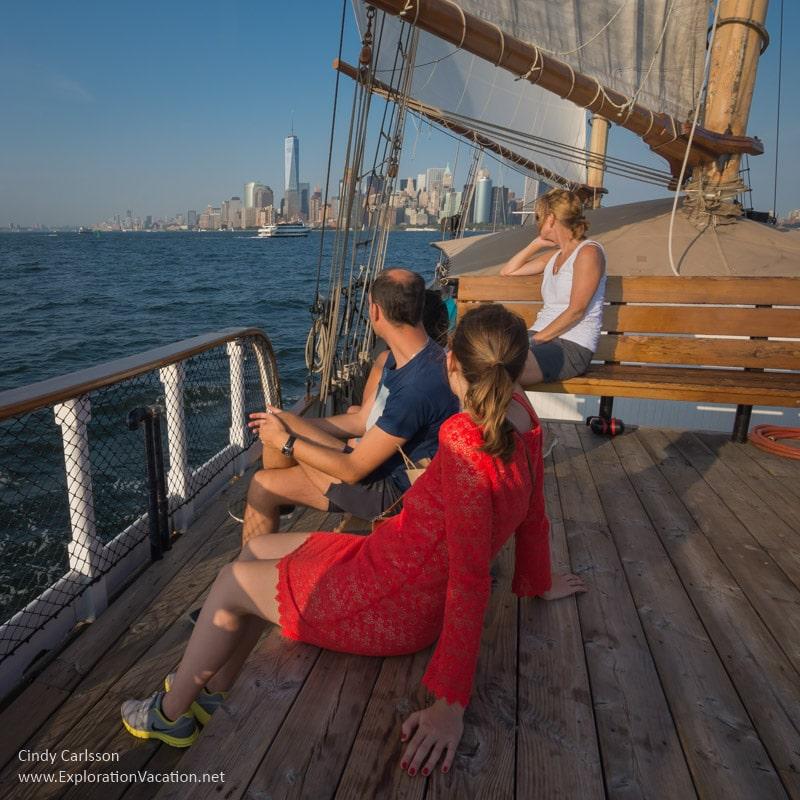 passengers looking toward Manhattan