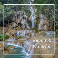 "waterfall with text ""Kuang Si Waterfall"""
