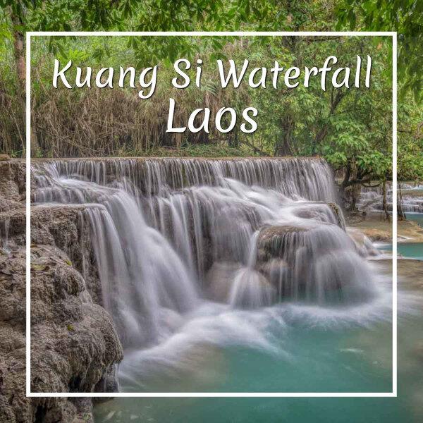 "small waterfall with text ""Kuang Si Waterfall Laos"""