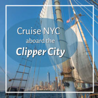"""NYC from the water with sails and text """"Cruise New York City aboard the Clipper City"""""""