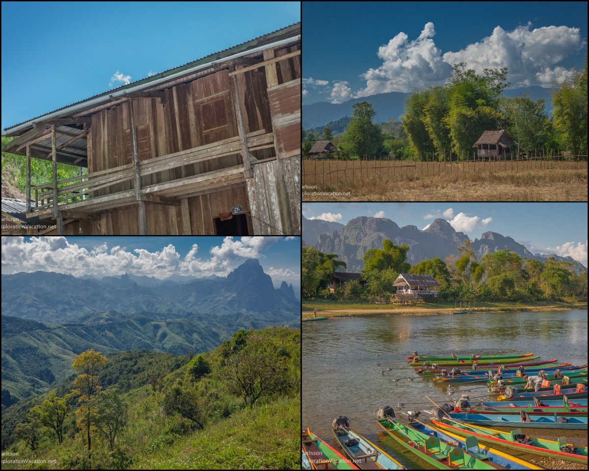 on the road in Laos collage
