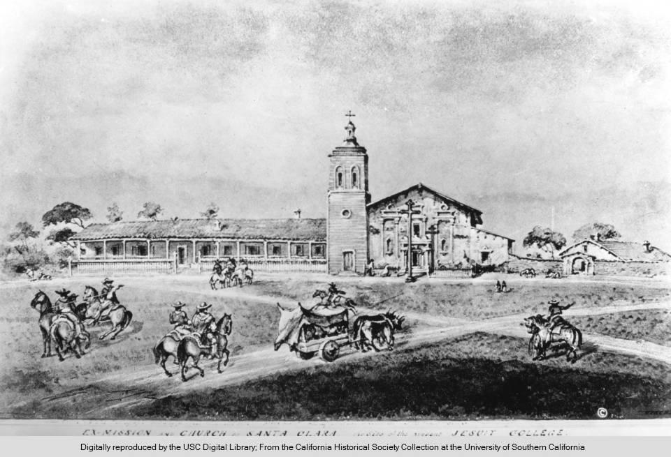 Photograph of a drawing by Edward Vischer depicting a holiday gathering of rancheros at the Mission Santa Clara, 1842-1846.