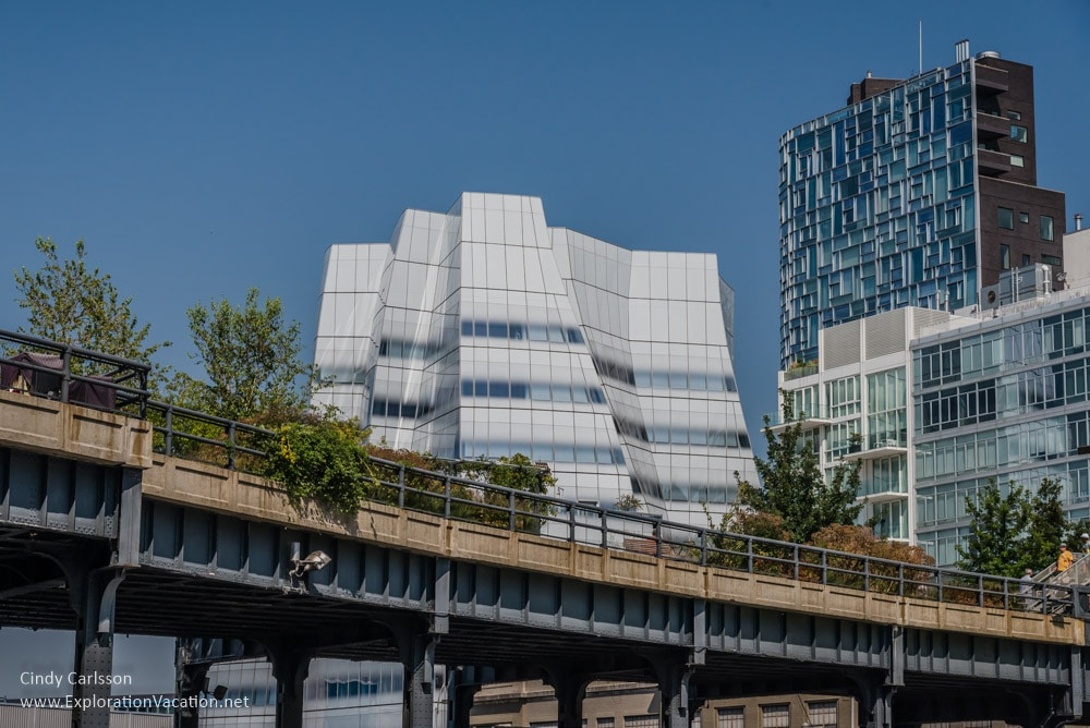 looking up at the highline with greenery and the IAC building