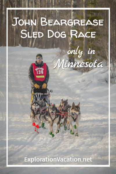 Musher and dogsled team with text