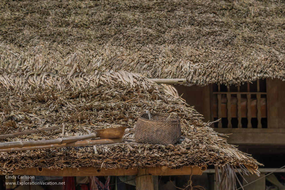 baskets on a thatch roof