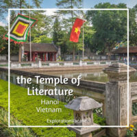 "photo of a Vietnamese temple with text ""the Temple of Literature Hanoi Vietnam"""