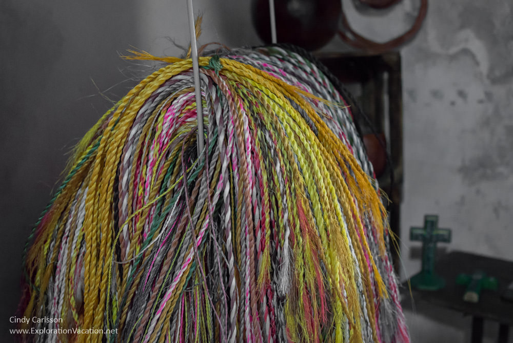 brightly dyed fibers