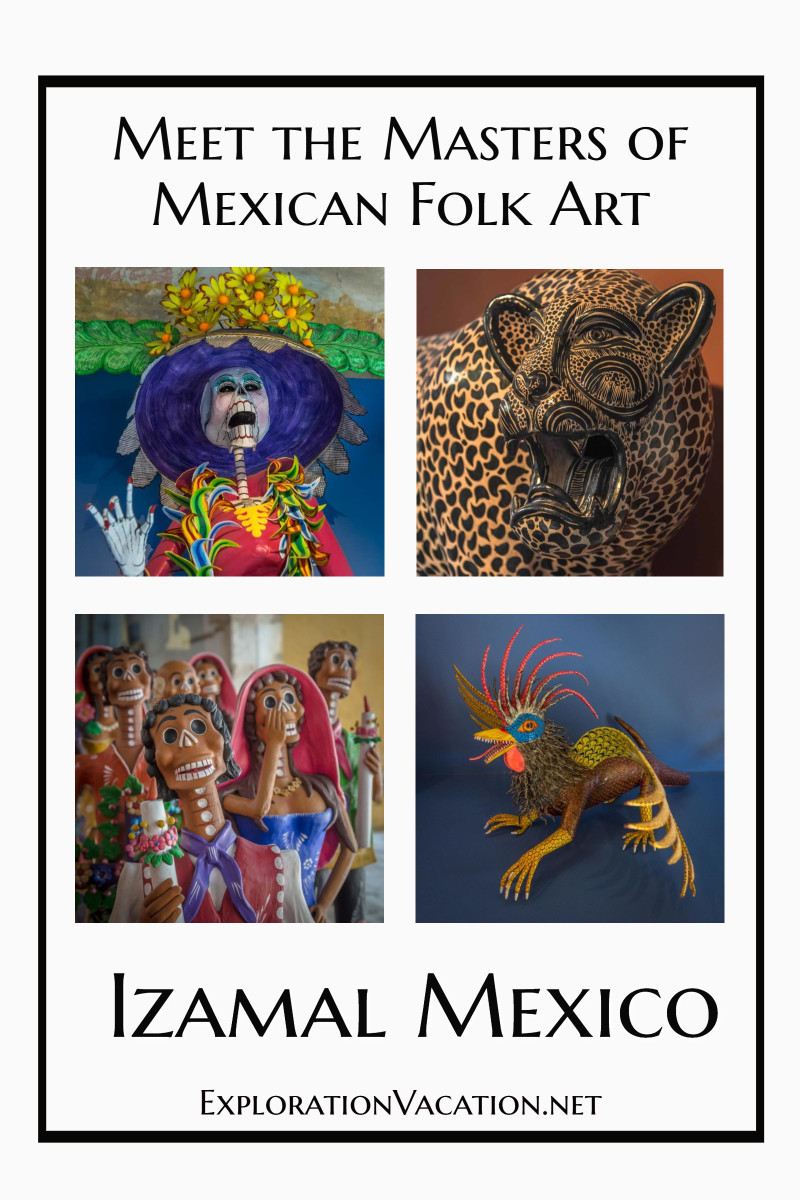 """four pieces of folk art and text """"Masters of Mexican Folk Art"""""""