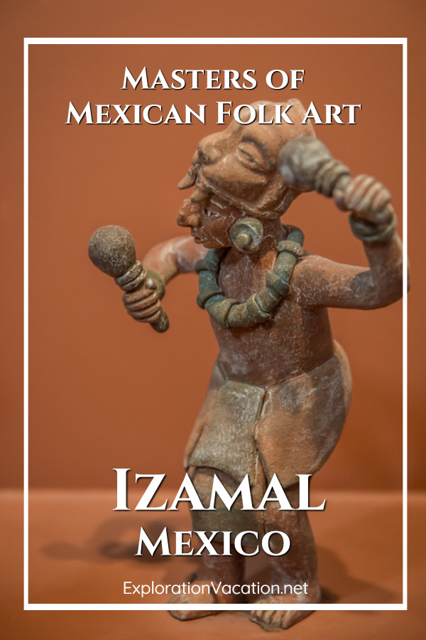 """Ceramic dance figure with text """"Masters of Mexican Folk Art"""""""