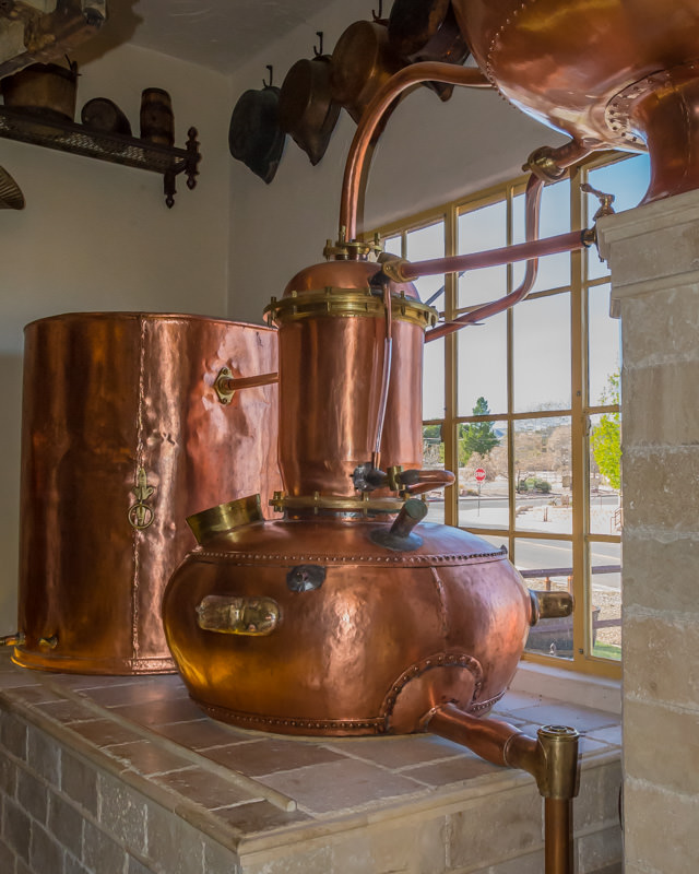 copper stills in the distillery room at the Arizona Copper Museum