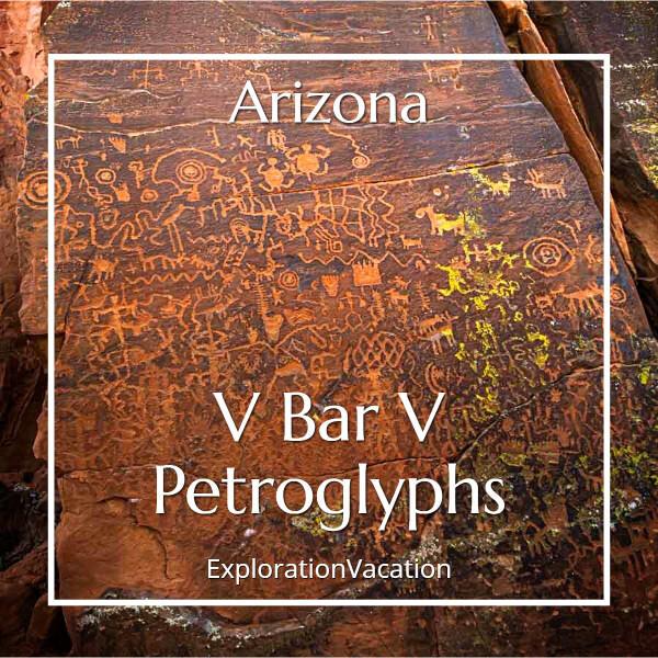 """rock carvings with text """"Arizona's V Bar V Petroglyphs"""""""