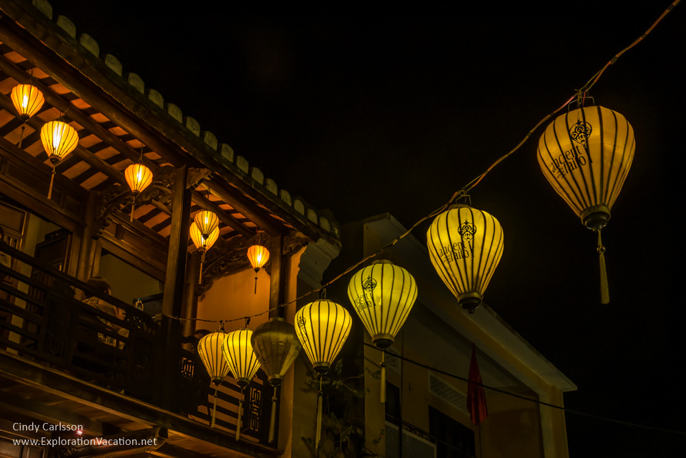 lanterns above the streets in Hoi An Vietnam - ExplorationVacation.net