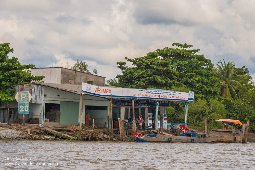 Gas station in the Mekong Delta Vietnam - ExplorationVacation.net