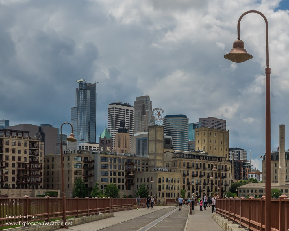 downtown from the stone arch bridge Minneapolis segway tour -ExplorationVacation.net