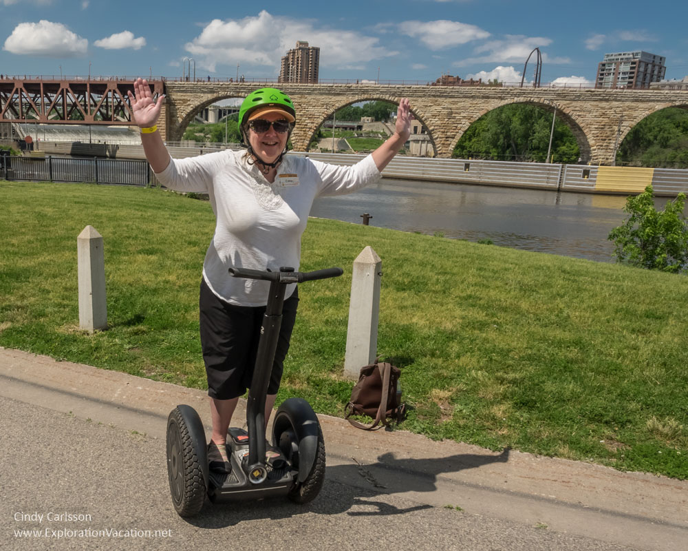 Posing hands-free on a Segway tour of the historic Mill District in Minneapolis, Minnesota -ExplorationVacation