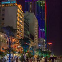 Office towers along Nguyen Hue in Saigon Vietnam - ExplorationVacation.net
