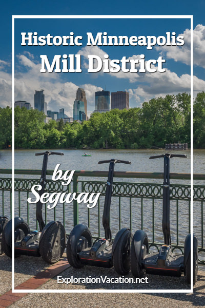 Skyline views on a tour of the historic Minneapolis Mill District by Segway - ExplorationVacation