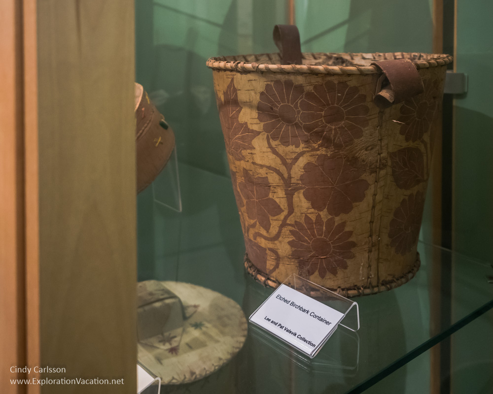 Native American basket Koochiching County Museums MN - ExplorationVacation.net
