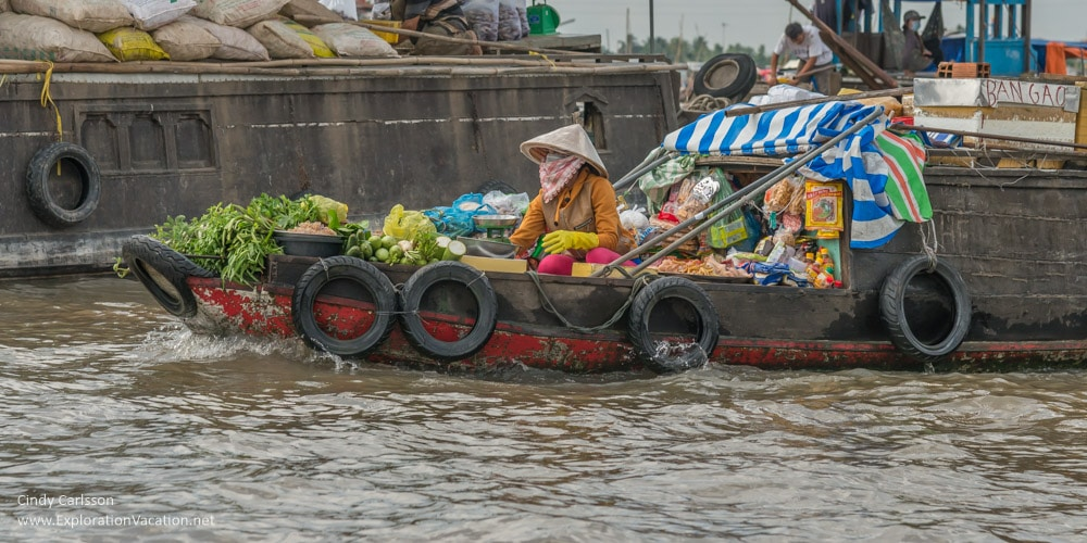 floating grocery at Cai Rang floating market Vietnam - ExplorationVacation.net