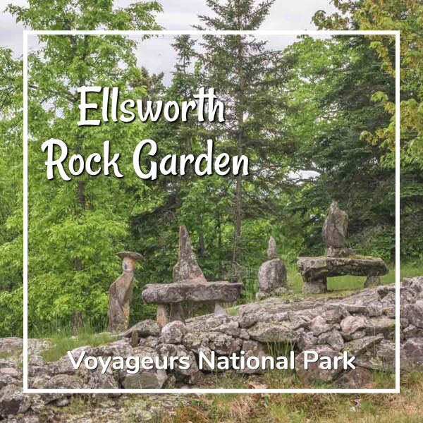 "photo of a woodland rock garden with text ""Ellsworth Rock Garden Voyageurs National Park"""