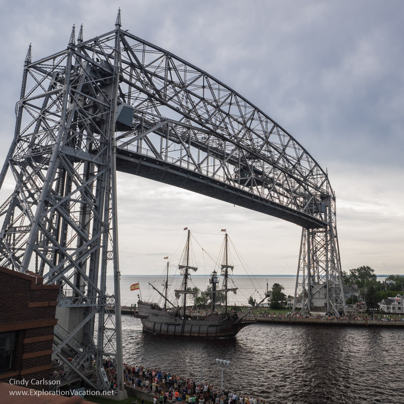 Duluth Tall Ship Festival El Galeon Andalucia under the lift bridge - www.ExplorationVacation.net