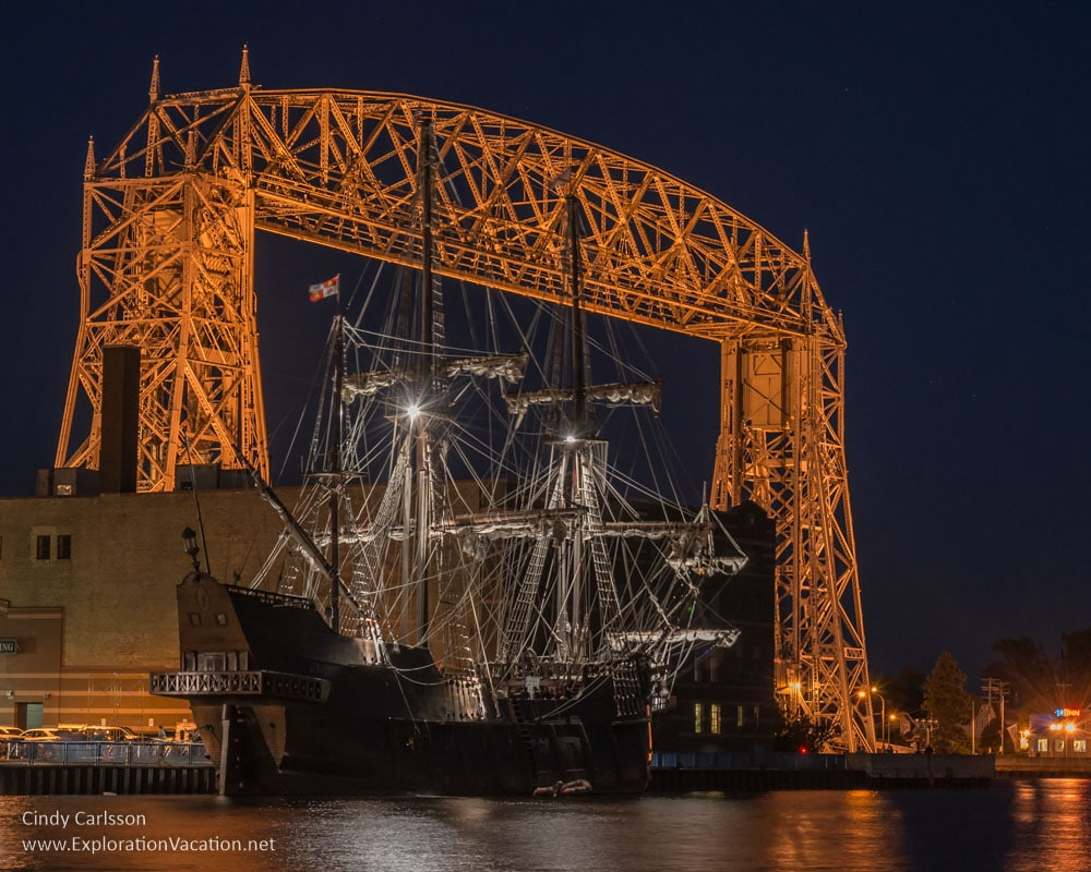 Duluth Tall Ship Festival - El Galeon Andalucia and the Duluth Lift Bridge- www.ExplorationVacation.net